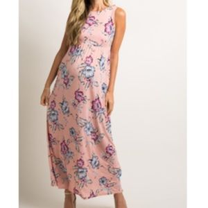 Pink Blush Maternity Floral Maxi with Pockets